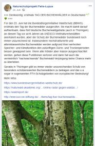 Facebook-Post von Naturschutzprojekt Felis-Lupus des NABU Thüringen - 24-6-2019