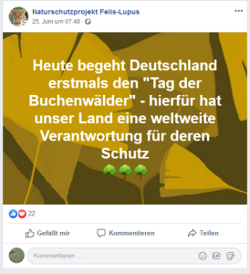 Facebook-Post von Naturschutzprojekt Felis-Lupus des NABU Thüringen - 25-6-2019